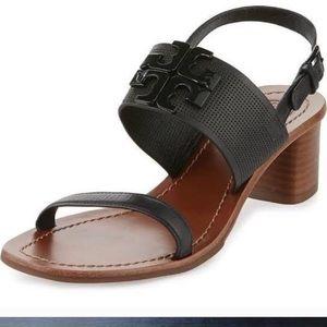 Tory Burch Black Leather Heel Sandal Shoes